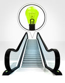Green lightbulb in bubble above escalator leading to upwards concept — Stock Photo