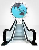 Asia earth globe in bubble above escalator leading to upwards concept — Stock Photo