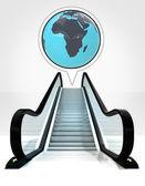 Afrika jorden världen i bubbla ovanför rulltrappan leder till uppåt koncept — Stockfoto
