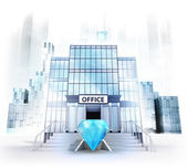 Blue diamond in front of office building — Stock Photo