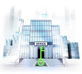 Green key in front of office building — Stock Photo
