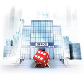 Lucky dice in front of office building — Stock Photo