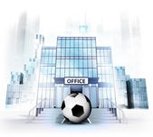 Football business in front of office building — Stock Photo