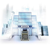 Business calculation in front of office building — Stock Photo