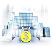 Dollar coin in front of office building — Stock Photo