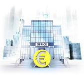 Euro coin in front of office building — Foto Stock