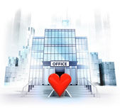 Red heart in front of office building — Foto Stock