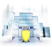 Security shield in front of office building — Stock Photo