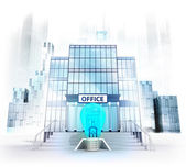 Electric lightbulb in front of office building — Stock Photo