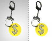Golden Dollar coin in chain as criminality concept double — Stock Photo