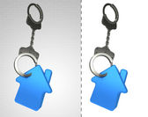 House estate in chain as criminality concept double — Stock Photo