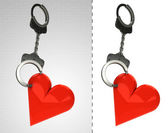 Love heart in chain as criminality concept double — Stock Photo