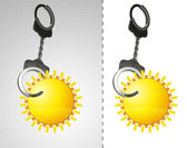 Holiday sun in chain as criminality concept double — Stock Photo