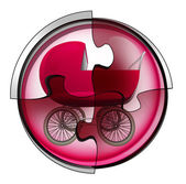 Red pushchair connection in circular jigsaw concept — Stock Photo