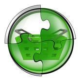 Shopping basket connection in circular jigsaw concept — Zdjęcie stockowe