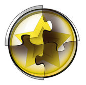 Golden star connection in circular jigsaw concept — Stock Photo