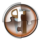 Manual tools connection in circular jigsaw concept — Stockfoto