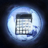 Business calculations in Asia earth globe at cosmic view concept — Stock Photo