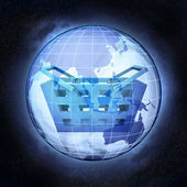 Shopping basket of Asia earth globe at cosmic view concept — Photo