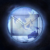 Email messge of Asia earth globe at cosmic view concept — Photo