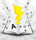Flash strike in opened book — Stock Vector