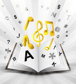 Music signs in opened book — Vector de stock