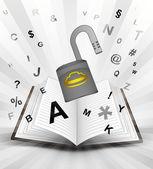 Open padlock in opened book — Stock Vector