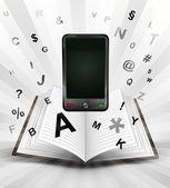 Smart phone in opened book — Stockvector