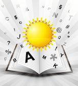 Summer sun in opened book — Stock Vector