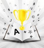 Winner cup in opened book — Stock Vector