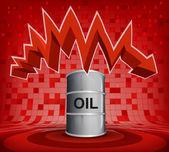 Oil barrel under zig zag arrow — Stock Vector