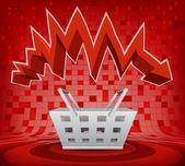 Trade basket under zig zag arrow — Stock Vector