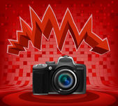 Camera under zig zag arrow — Stock Vector