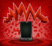 Smart phone under zig zag — Stockvektor