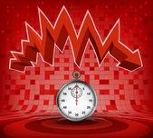 Zig zag ok inen kırmızı altında kronometre — Stok Vektör