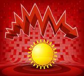 Summer sun under zig zag — Stock Vector