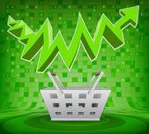Trade basket under green rising zig zag arrow — Stock Vector