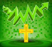 Holy cross under green rising zig zag arrow — Stock Vector