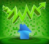 House icon under green rising zig zag arrow — Vector de stock