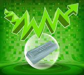 Steel goods under green rising zig zag arrow — Vector de stock