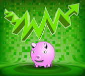 Happy pig under green rising zig zag arrow — Stock Vector