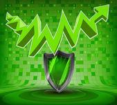 Protective shield under green rising zig zag arrow — Vector de stock