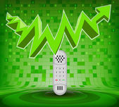 Telephone under green rising zig zag arrow — Stockvector