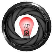 Warning  bulb in shutter — Stock Vector