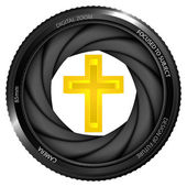 Holy cross in shutter — Stockvector