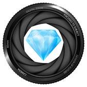 Blue diamond in shutter — Vettoriale Stock