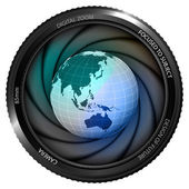 Asia earth globe in shutter — 图库矢量图片