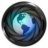 America earth globe in shutter — Stock Vector
