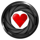 Red heart in shutter — Vector de stock