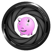 Happy pig in shutter — Stockvektor